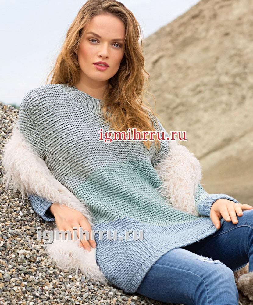 Разноцветный пуловер с плавными переходами цвета. Вязание спицами