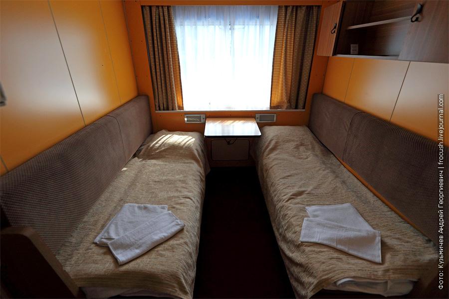 Двухместная одноярусная каюта №410 на шлюпочной палубе. теплоход «Кронштадт»