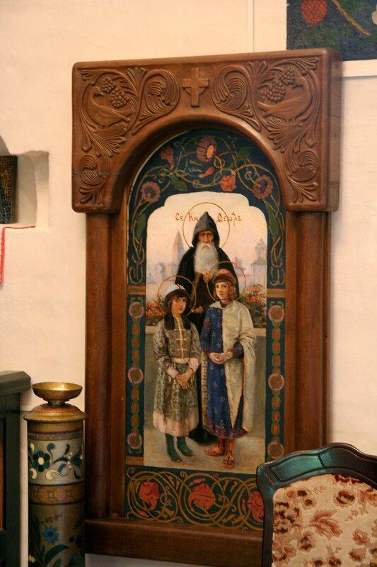 """Абрамцево, церковь Спаса Нерукотворного. Икона """"Святые князь Федор с сыновьями Константином и Давидом"""", 1890-е годы"""