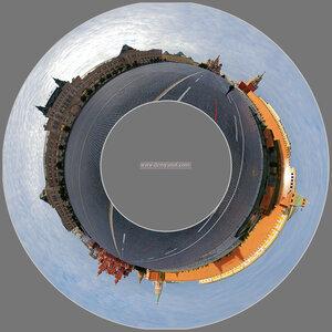 Красная площадь Москва, панорама, микропланета, город, polar, coordinates