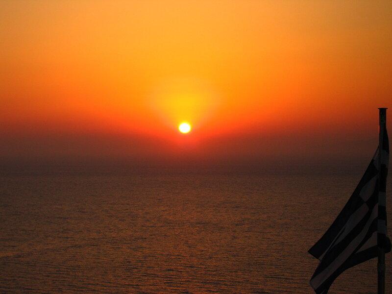 Закат на Санторини в Ийе
