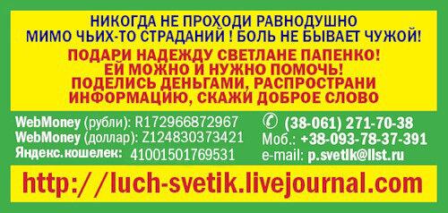 Помочь Светлане Папенко