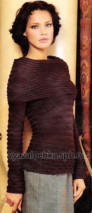 Джемпер с поперечным узором спицами