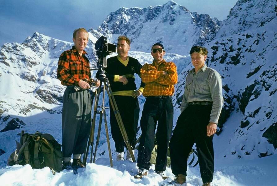 Brian Brake (left) with some of the party involved in filming 'Snows of Aorangi' (1955), Tasman Glacier, 1953.jpg