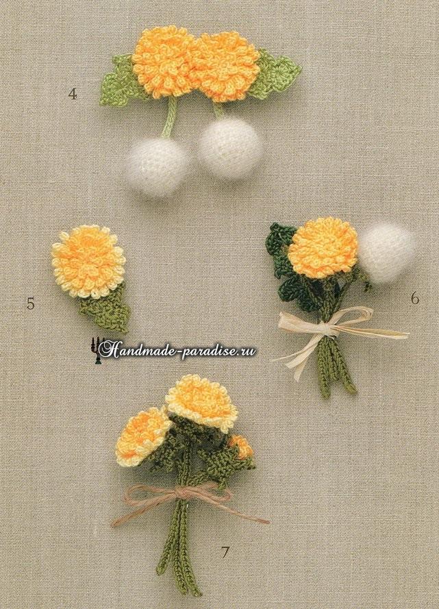 Миниатюрные букетики с хризантемами крючком (4)
