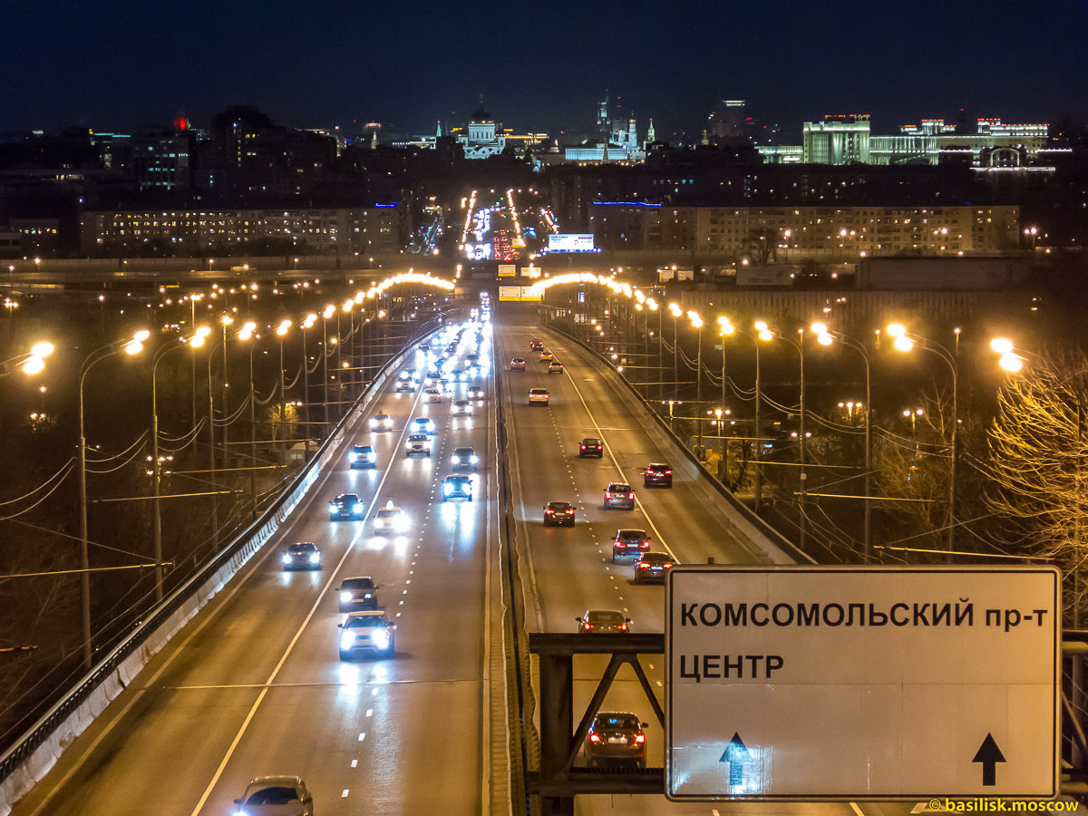 Вечерняя Москва. Комсомольский проспект. Март 2016.