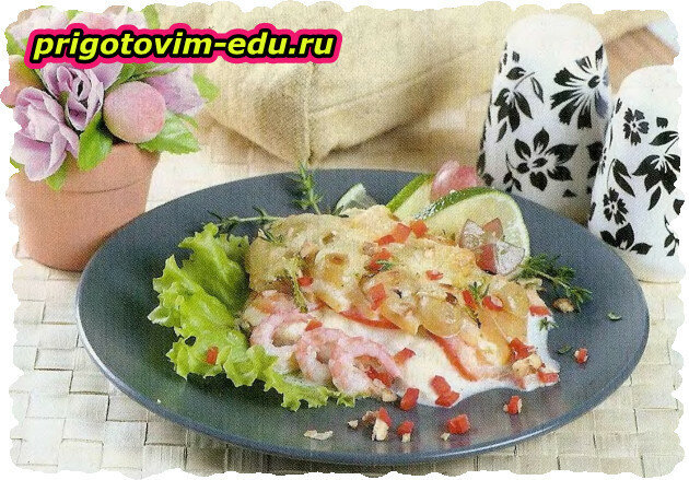 Филе морского окуня, запеченное с фруктами и помидорами