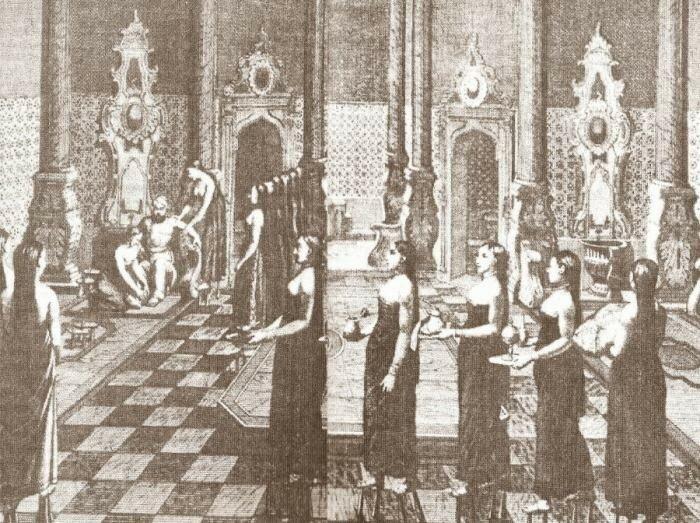 Фрагмент гравюры Баня турецкого султана