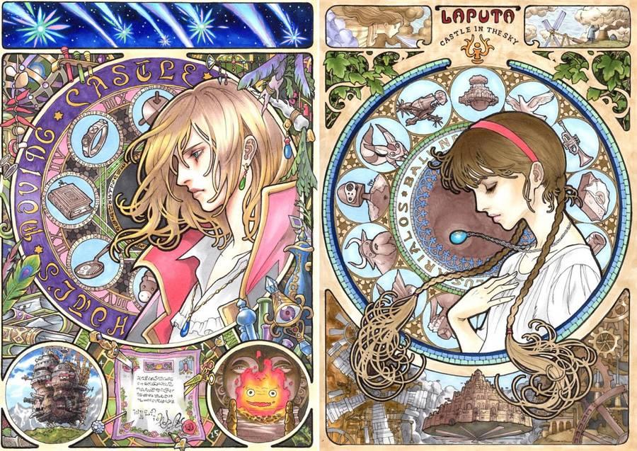 Art-Nouveau inspired Portraits of Miyazaki Characters