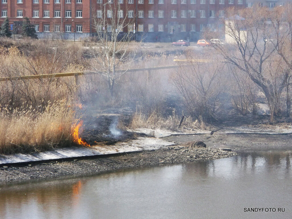 Огонь и лёд в одном кадре или как опустился  уровень воды в Увельке