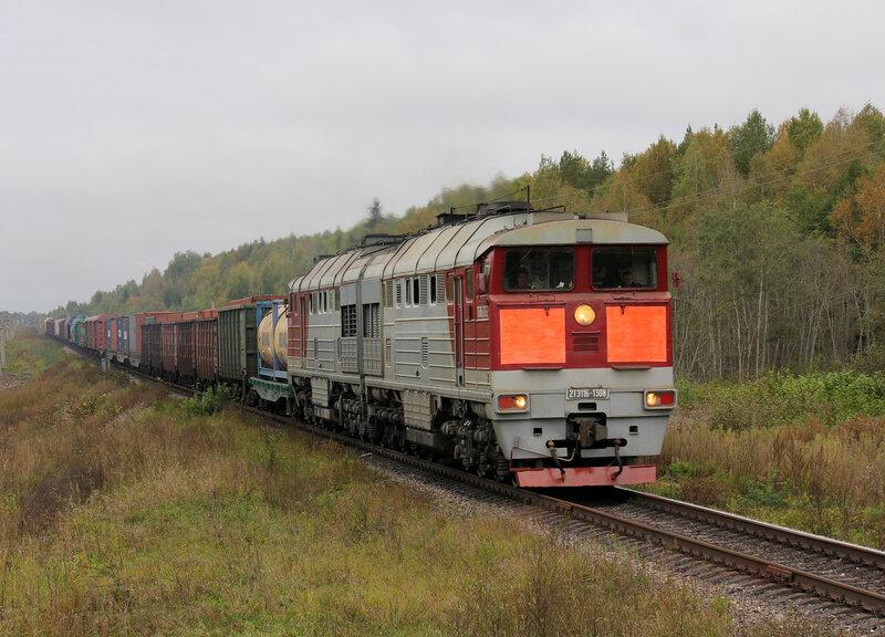 2ТЭ116-1308 на перегоне Земцы - Подсосенка