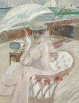 Madame Helleu sur son yacht L'etoile. um 1898-1900