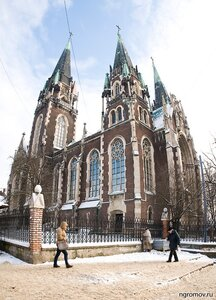 Костёл Святой Эльжбеты (зима, Костёл Святой Эльжбеты, Львов, панорама, человек)
