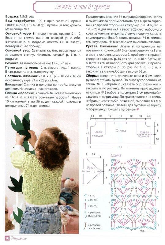 схемы вязания спицами кофточка для девочки 2 года.