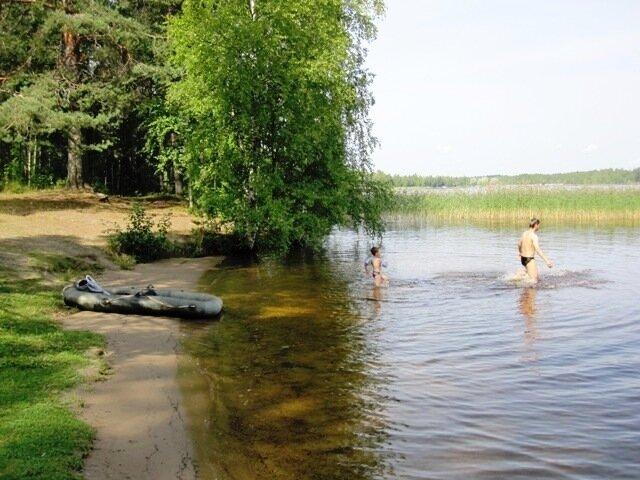 Лесной пляж, где папа учит сына плавать