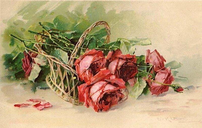К. Кляйн.     Корзина с  красными розами.