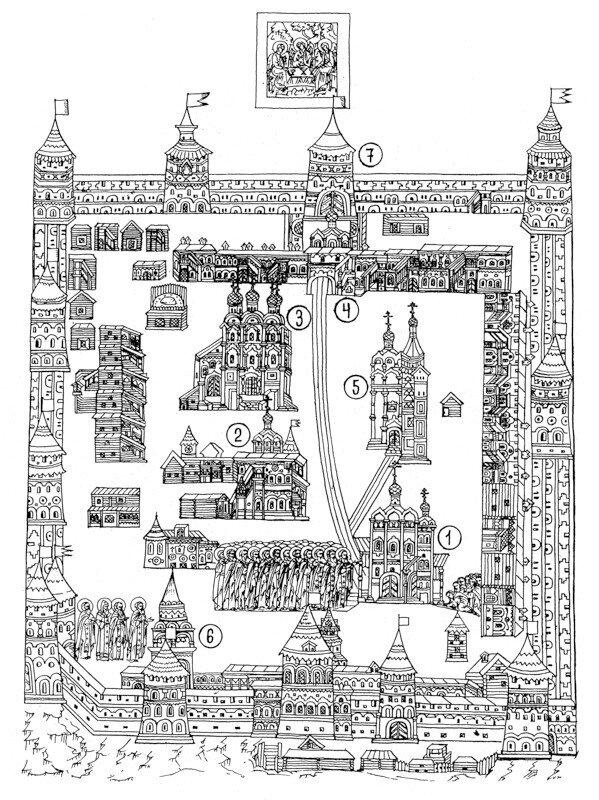 Изображение Троице-Сергиевой лавры на иконе ХVII века. Прорись М.П.Кудрявцева.
