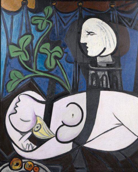 """Пабло Пикассо """"Обнаженная на фоне бюста и зеленых листьев"""""""