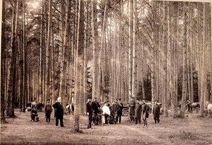 Группа участников охоты на опушке леса.
