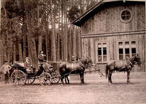 Карета,запряжённая четвёркой лошадей,у одного из охотничьих домиков