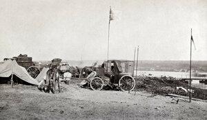 Преминаването на река Дунав - станция на походния телеграф на руската армия, разположена на остров при румънския град Зимнич (Зимница) срещу Свищов, юни 1877 г.