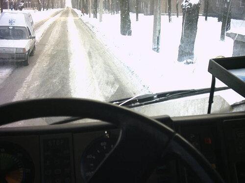 вид с кабины с места водителя грузовика МАН
