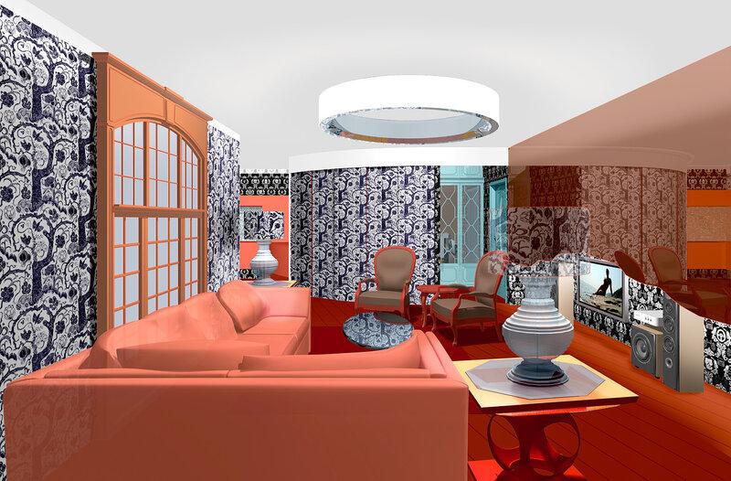 Вар 3 Интерьер гостиной в двухкомнатной квартире. Размещение домашнего кинотеатра в комнате, расстановка мягкой мебели. Столетова 03  v02