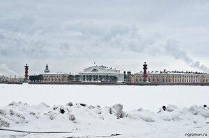 Зимний петербургский пейзаж (лед, Нева, Петербург, Стрелка ВО)