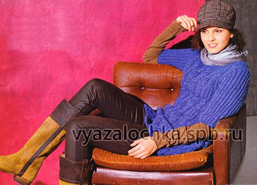 Пуловер с косами и патентным узором