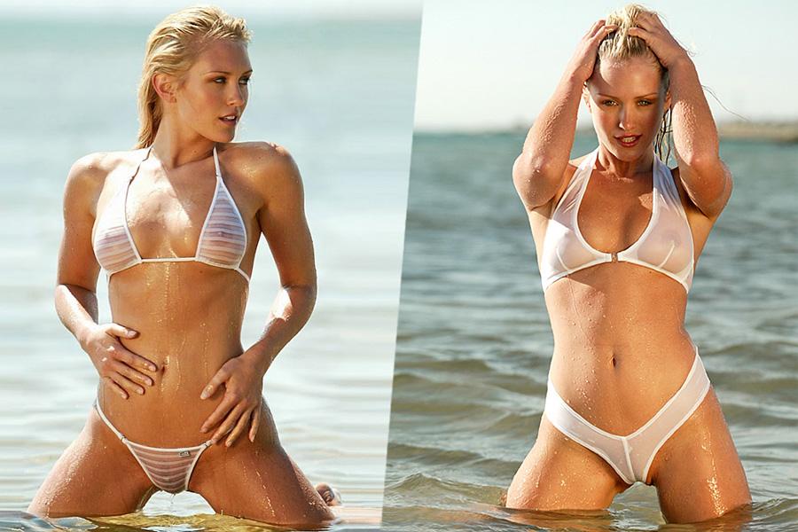 Актриса Nicky Whelan показывает сиськи на пляже