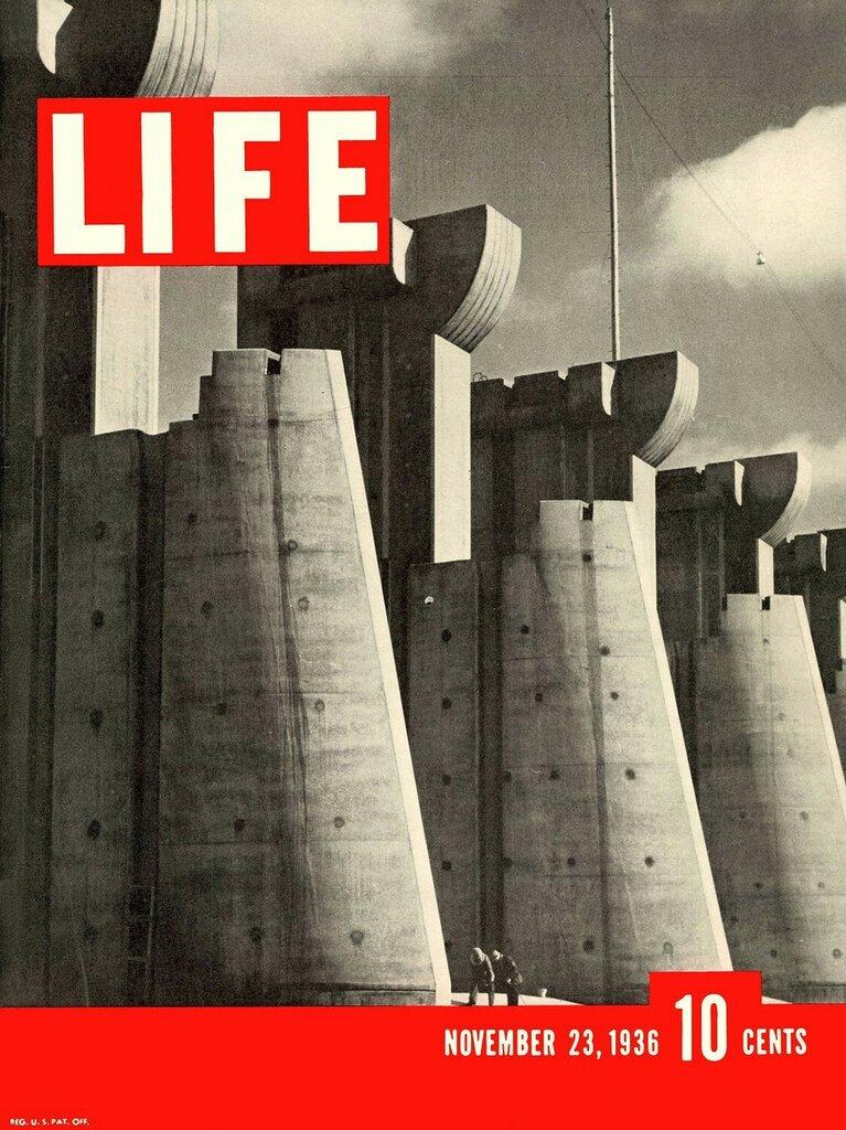 Первый выпуск журнала 'LIFE'. На обложке - водохранилище форт-Пек, 23.11.1936.jpg