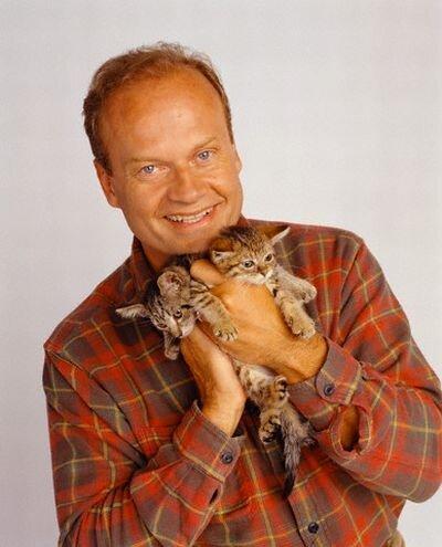 Kelsey Grammer Holding Two Gray Kittens