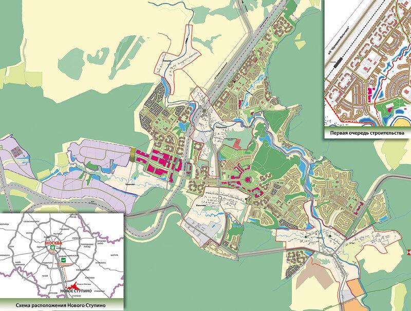 Нажмите на изображение карты плана застройки города Новое Ступино для