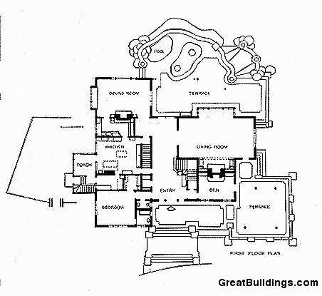 Дом Гембл, план 1-ого этажа