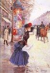 """Jeune femme traversant le boulevardOil on panel35.9 x 52.1 cm(14.13"""" x 20.51"""")Private collection"""