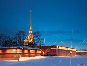 Вечер на Заячем острове (Петропавловская крепость, снег, фонарь)