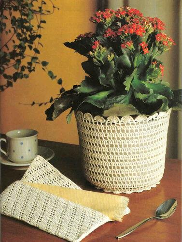 Горшок для растений, обвязанный крючком