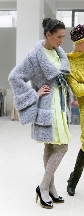 Серое пальто мохеровое Lineapiu
