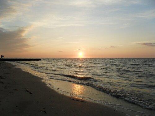 Закат, море