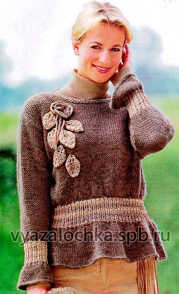 Пуловер с кружевным цветком
