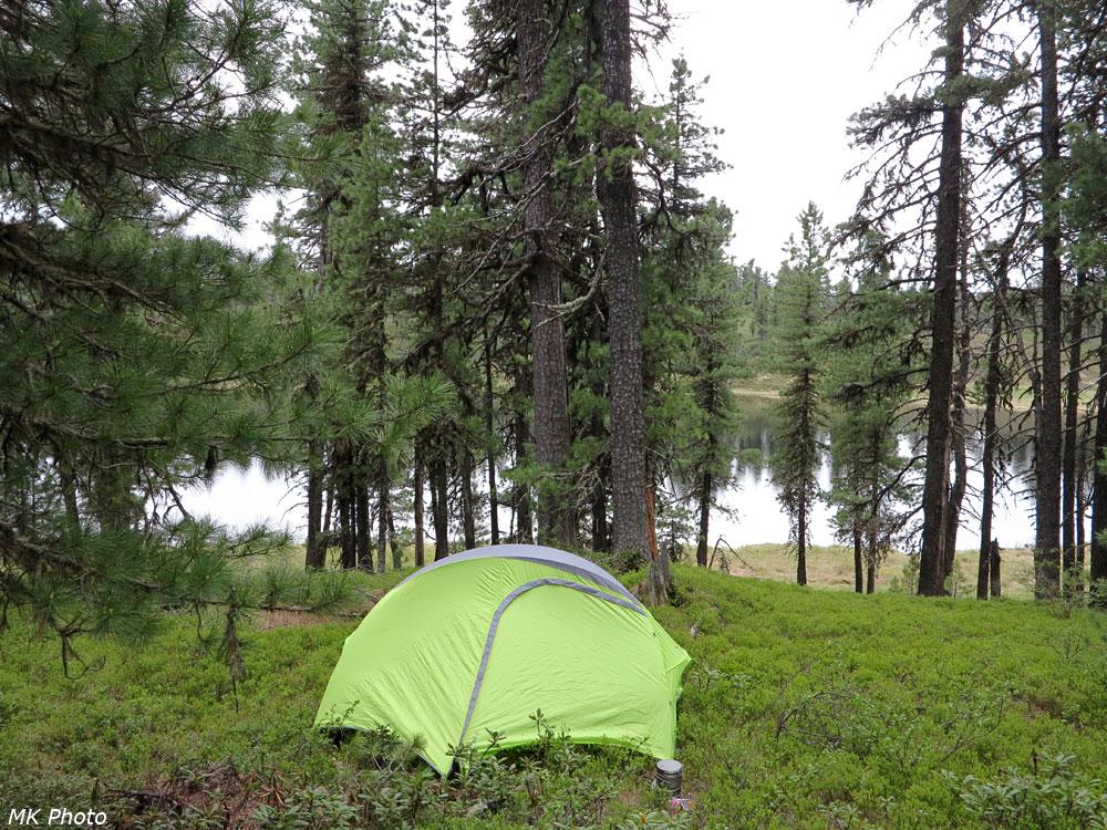 Первая ночёвка в новой палатке