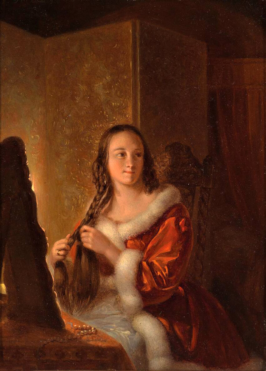 Petrus van Kiers (Meppel 1807-1875 Amsterdam) At Her Toilette, signed, dated P. Kiers f. 1845.jpg