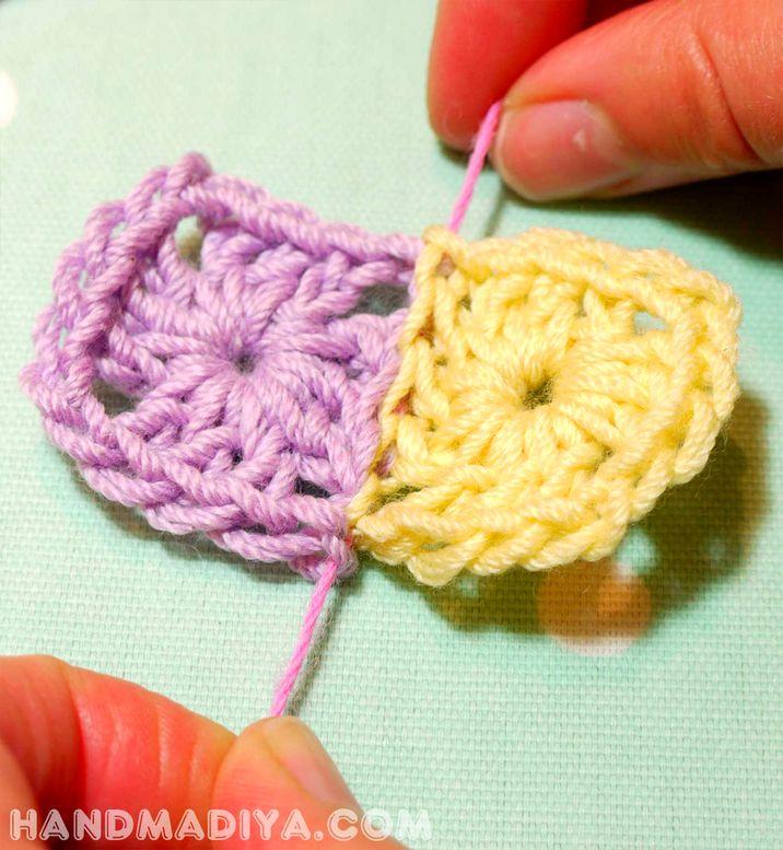 Веселый вязаный шарф из квадратиков. Crocheted scarf squares