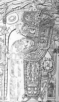 Правитель Тик'аля Йах-Нуун-Айин II, резьба на деревянной притолоке в Третьем храме