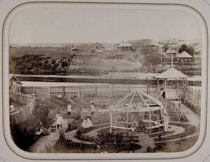 Вид части сада,реки и жилых домов города (вид из дома,занимаемого А.П.Нордштейном). Вытегра