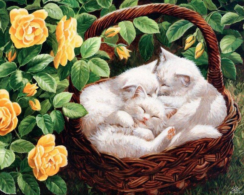 """Оригинал схемы вышивки  """"Белые котята и желтые розы """" ."""