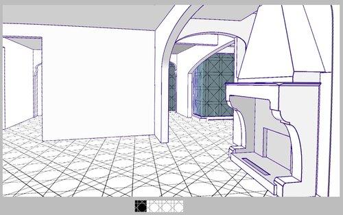Гостиная, камин, коридор, лестница на второй этаж, арка эллипс, эркер 28 44