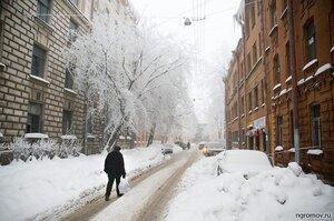 Зима 2010 г. в Петербурге  (дорога, зима, Петербург, человек)