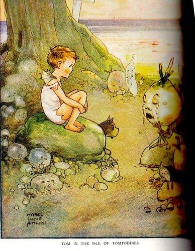 Lucie Attwell, цветной вклеенный рисунок