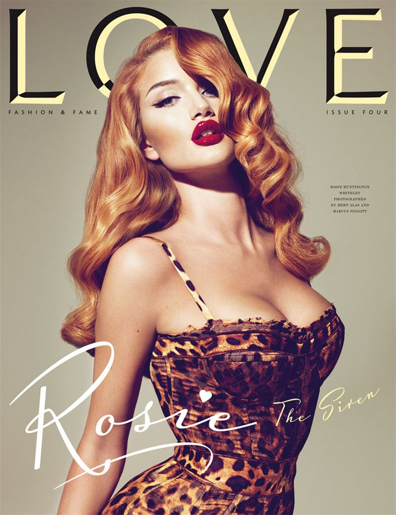 Love Magazine 4 covers by Mert Alas and Marcus Piggott - Rosie Huntington-Whiteley